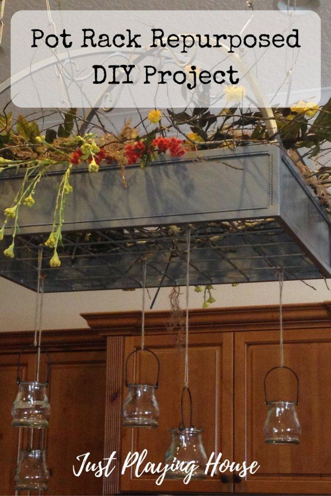 pot rack repurposed